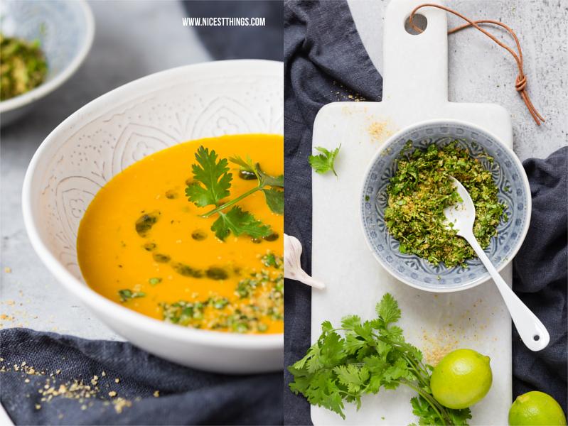 Kürbis Suppe nach Thai Art mit Koriander und Limette