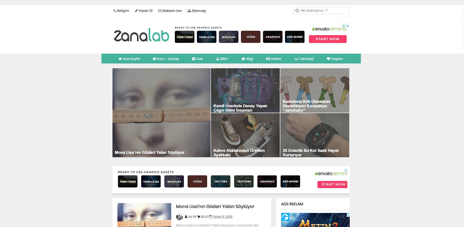 ZanaLab Yeşil Blog v1.0 Teması (2019 + Mobil + Bol Reklam Kazançlı)