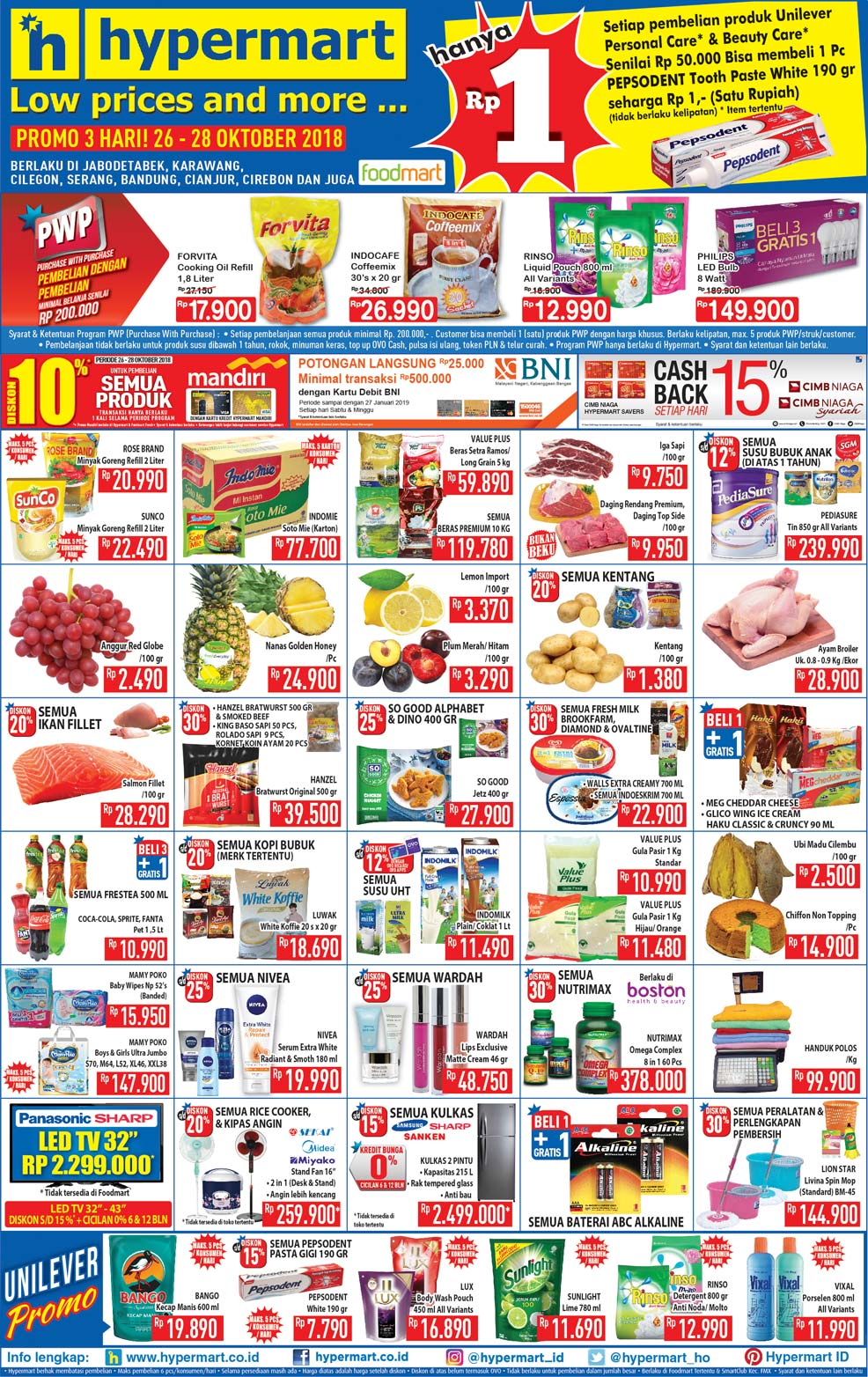 Hypermart - Katalog Promo Low Price and More Periode 26 - 28 Okt 2018