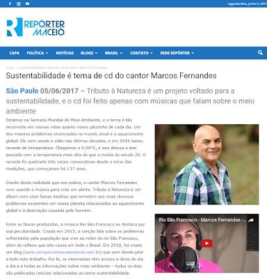 No Dia Mundial do Meio Ambiente sustentabilidade é tema de cd do cantor Marcos Fernandes