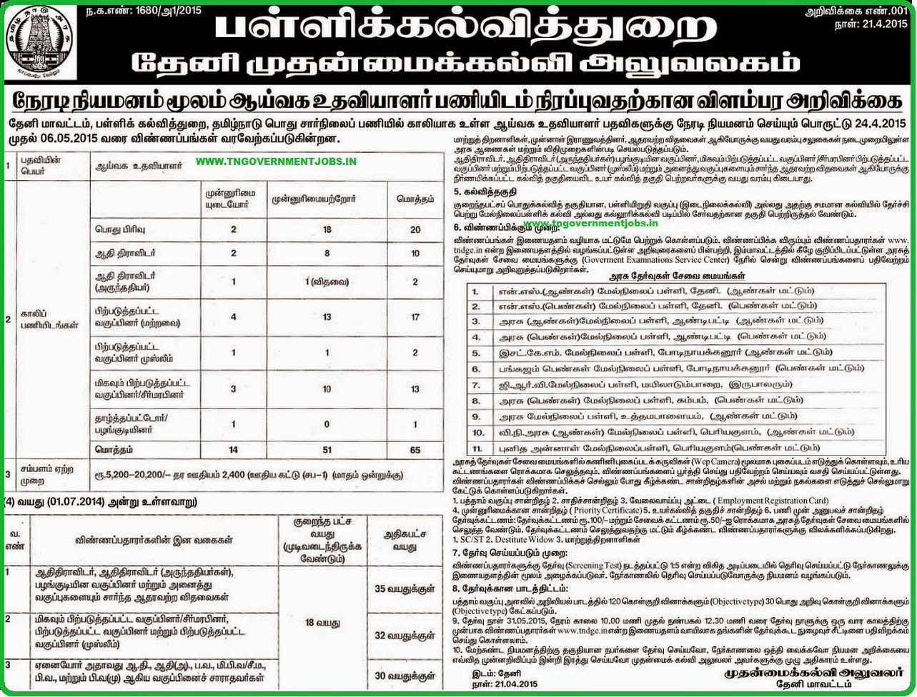 Theni CEO Lab Asst Recruitments 2015 (www.tngovernmentjobs.in)