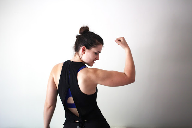girl workout tanktop diy tshirt reconstruction fitness inspo fitspo inspiration sewing handmade recon workout gear clothing cutout back racerback topknot pure barre before and after beforeandafter gains muscle building bicep tricep lats tutorial how to instructions how to sew howtosew
