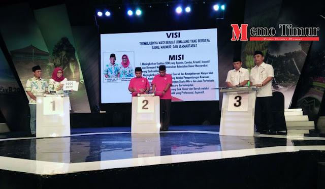 Ketiga pasangan calon (paslon) saat debat Pilkada