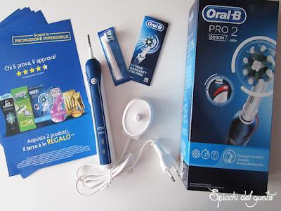 Contenuto confezione Oral b pro 2 2000N: 1 base spazzolino elettrico, caricatore, 1 testina di ricambio