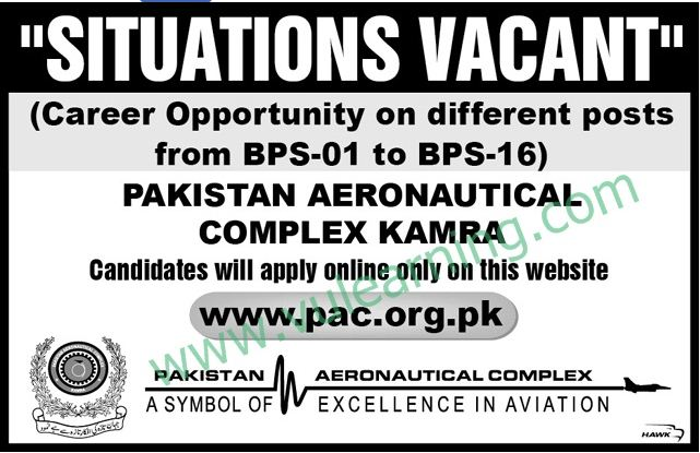 GOVT JOBS, Pakistan Aeronautical complex kamra, 2016, , Career Opportunities in Pakistan AeroNautical complex Kamra,