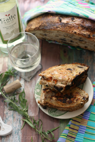 Grilled Goat Cheese w/ Tomato & Tarragon on Olive Bread + No-Knead Olive Bread