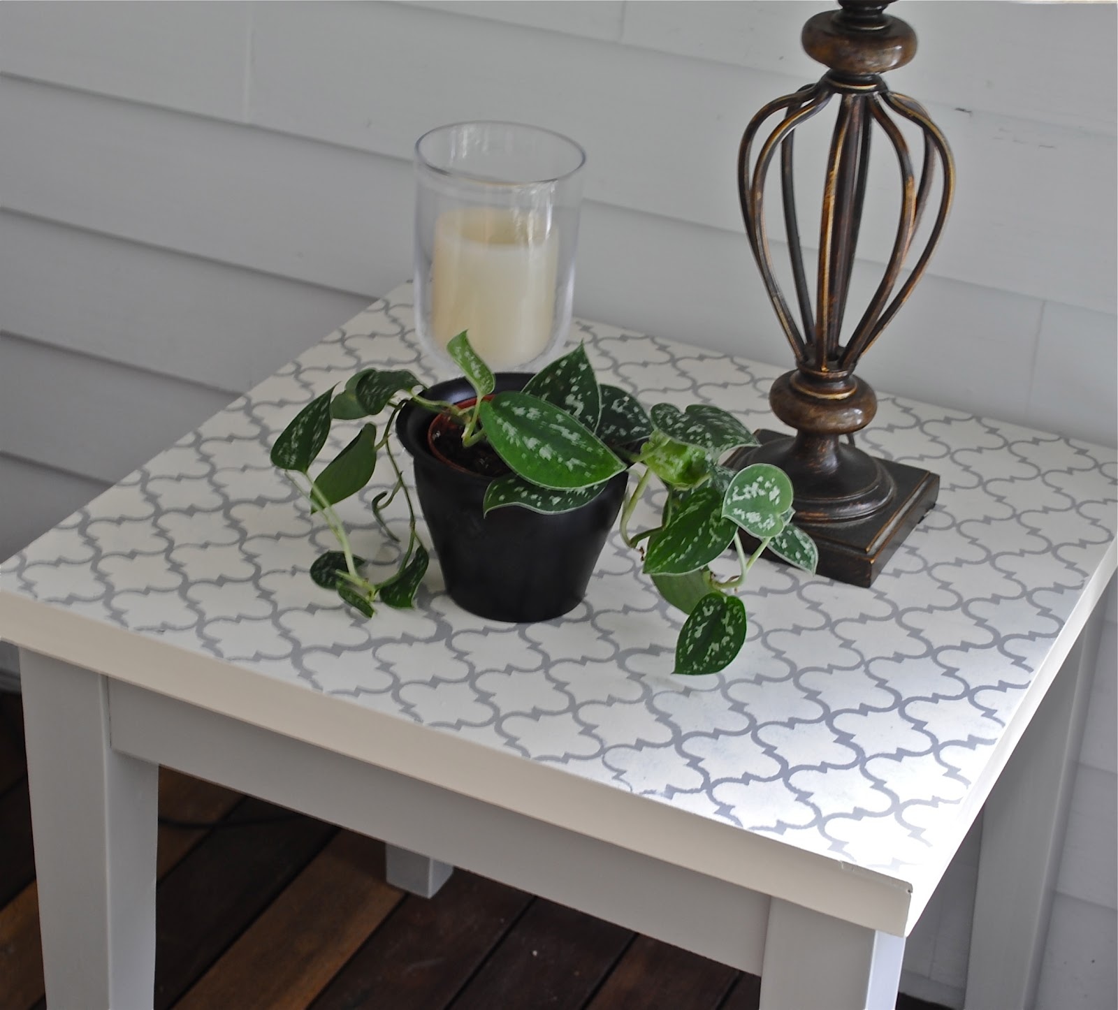diy living room side tables furniture beach style {diy} moroccan tile stenciled table - the chronicles of home