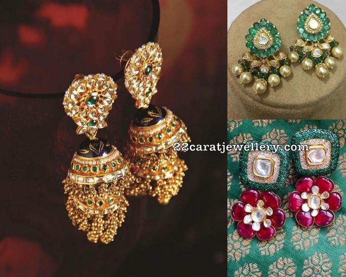 Polki Kundan Jhumkas Gemstone Earrings - Jewellery Designs
