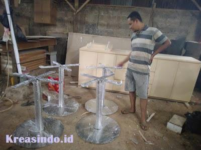 Kaki Meja Stainless Bundar pesanan Bpk Robbie di Lebak Bulus Jakarta
