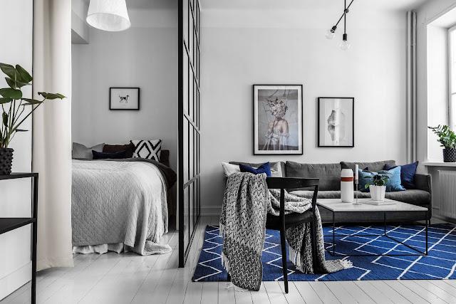 Plan deschis și dormitor separat de un perete de sticlă [ garsonieră 41 m² ]
