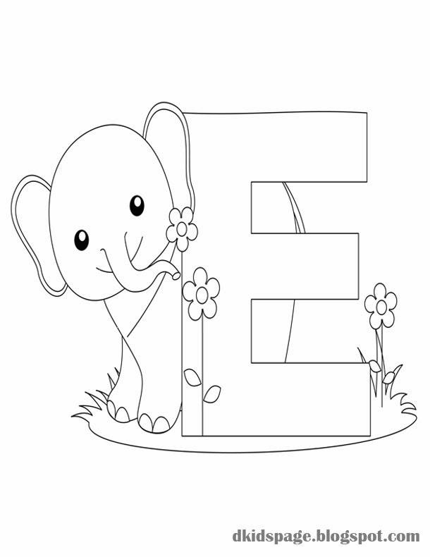 letter e coloring pages elephant - photo#19