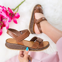 Sandale dama cu platforma piele naturala maro Pacari