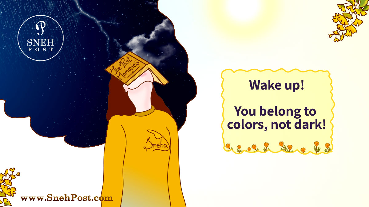 How to move on when past memories dragging girl to dark night vision: Abstract illustration of girl lost in dark of bad past memories (Wake up message for you belong to colors, not dark of nights)