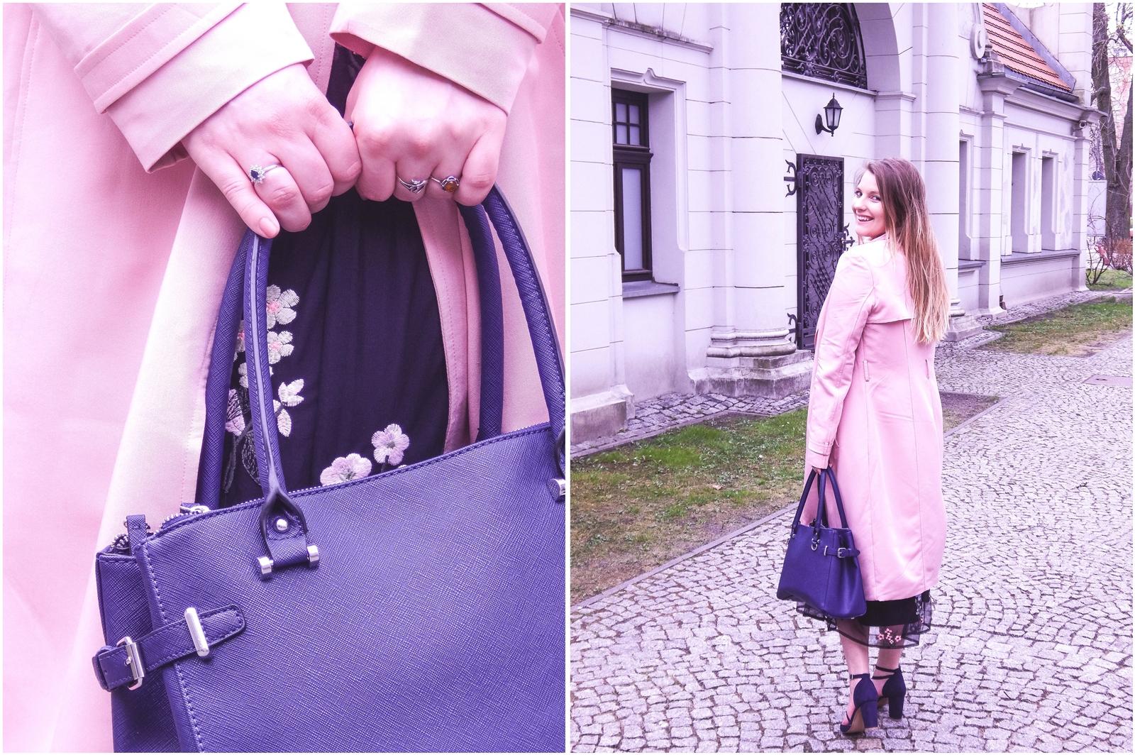 5a orsay trendy wiosna 2018 nowa kolekcja moda fashion blog blogerki modowe łódź z łodzi łódzkie melodylaniella fashion instagram sukienka na wesele różowy płaszcz granatowe pantofle duża torba