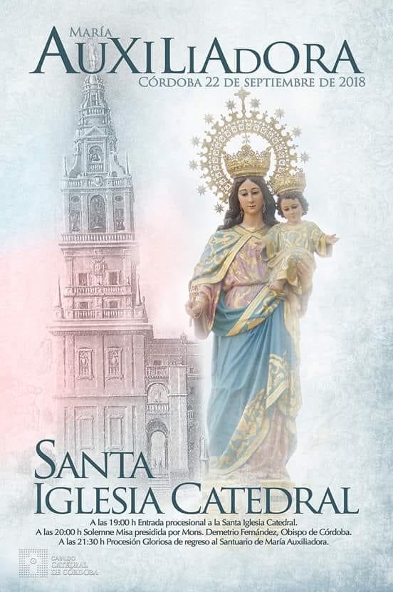 Cartel publicado por el Cabildo Catedral de Córdoba con motivo de la Procesión Extraordinaria de María Auxiliadora.