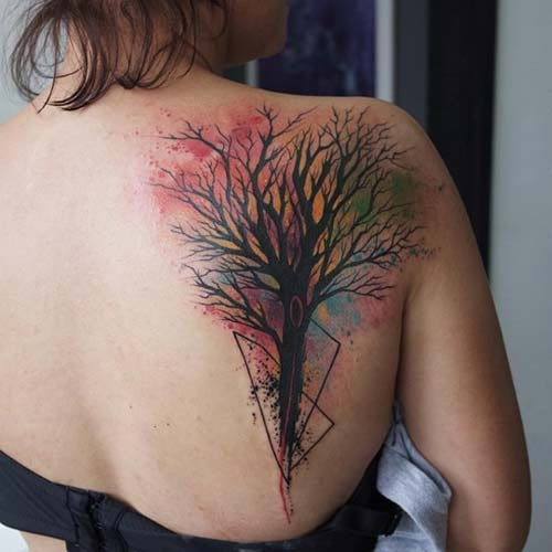 renkli ağaç dövmesi colorful tree tattoo