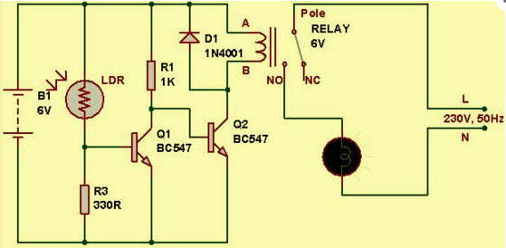 Light Dependent Resistor (LDR) Circuit - Electronic Projects, IC ...