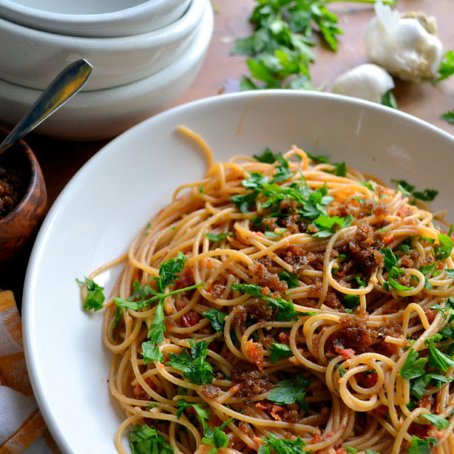 Pasta with Sun Dried Tomato and Almond Pesto