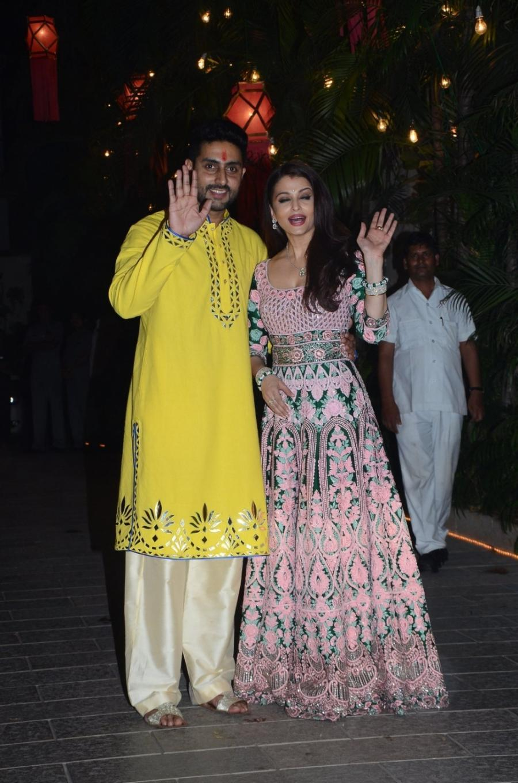 Actress Aishwarya Rai Stills In Pink Dress At Diwali Party