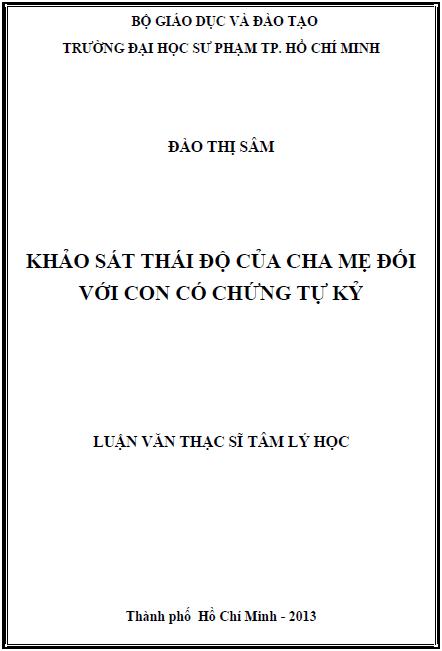 Khảo sát thái độ của cha mẹ đối với con có chứng tự kỷ tại thành phố Hồ Chí Minh