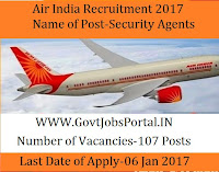 Air India Recruitment For 107 Security Agents Post 2017