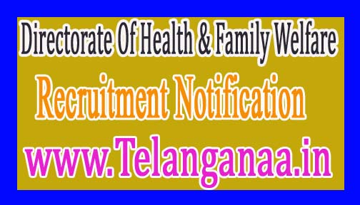 Directorate Of Health & Family WelfareGovernment of Punjab Recruitment Notification 2017