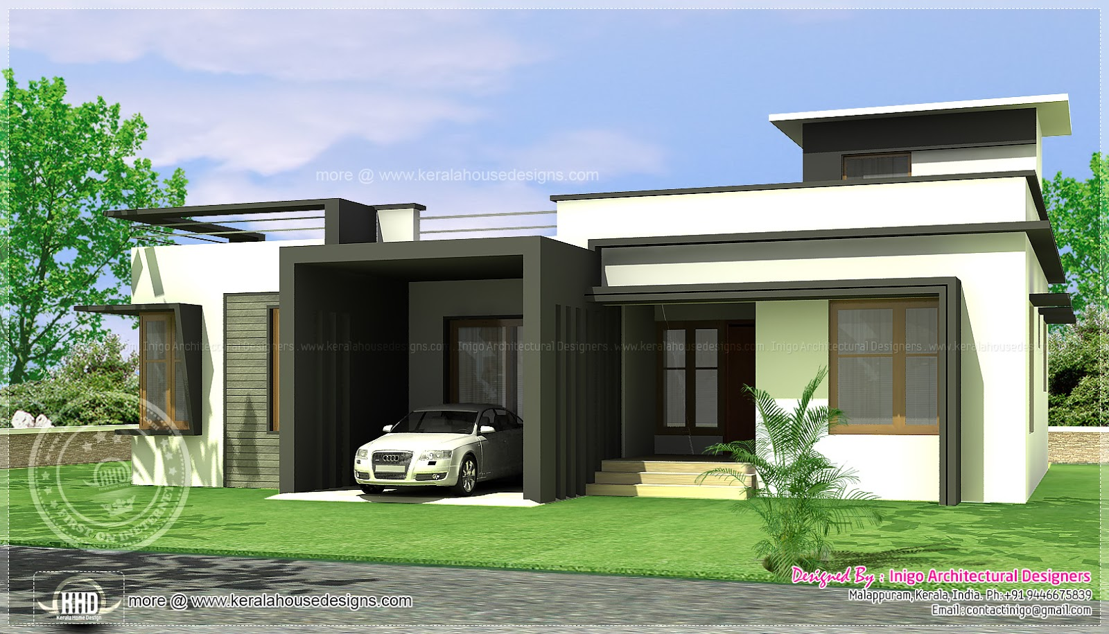 August 2013 kerala home design and floor plans for Single story 4 bedroom modern house plans