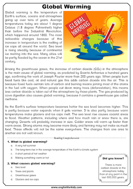 Global warming reading comprehension with questions for English learners