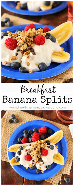 Breakfast Banana Splits ~ loaded with Greek yogurt, fresh berries, and crunchy granola.