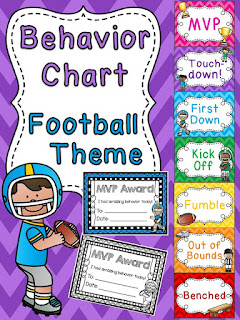 Football behavior chart for sports theme classroom a bunch of other fun behavior clip charts!