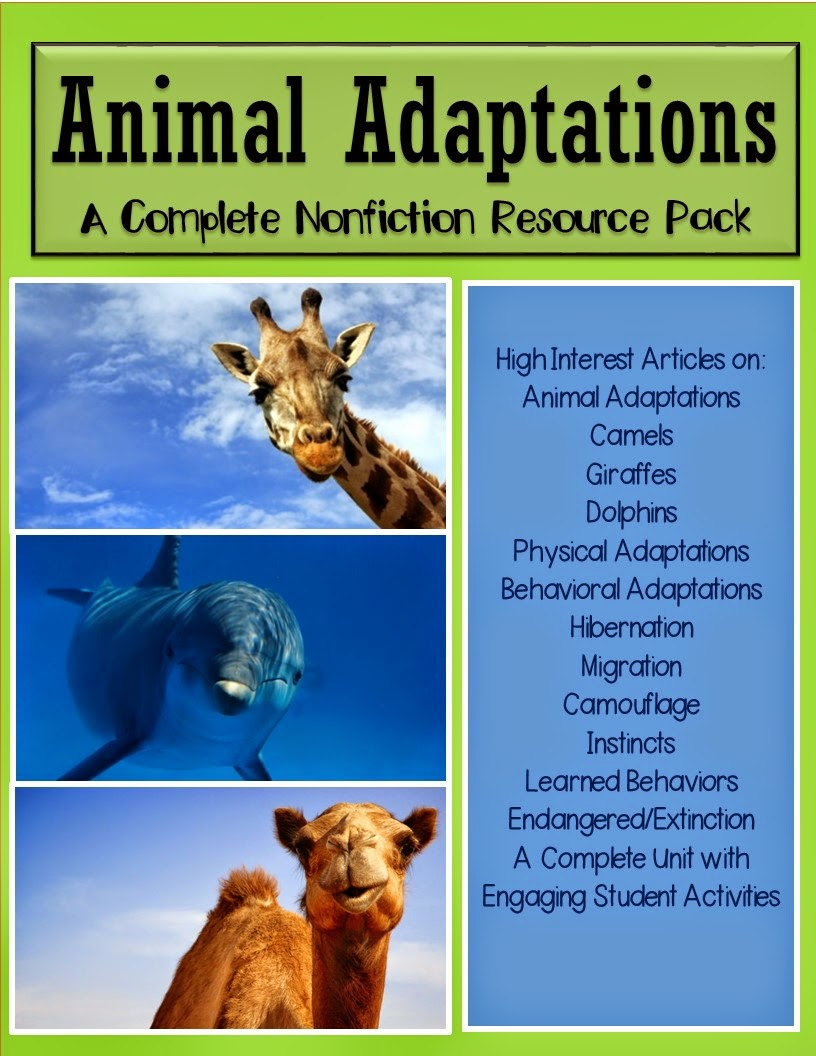 The Best of Teacher Entrepreneurs: Animal Adaptations - A Nonfiction  Science Resource Pack [ 1056 x 816 Pixel ]