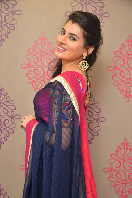 Archana in Bright Navy Blue Checks Saree