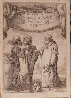 Frontispiece to Galileo's Dialogo showing three characters in 17th century Italian robes in heated discussion