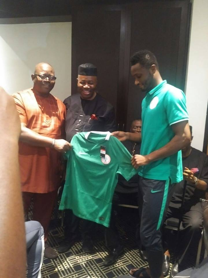0f796aeeff3 Senator Godswill Akpabio was presented with a brand new super eagles jersey  by team captain