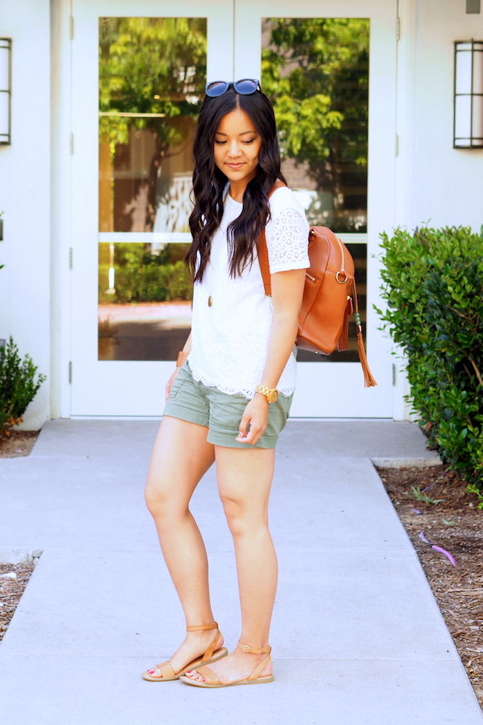 white lace top + olive cargo shorts + tan sandals