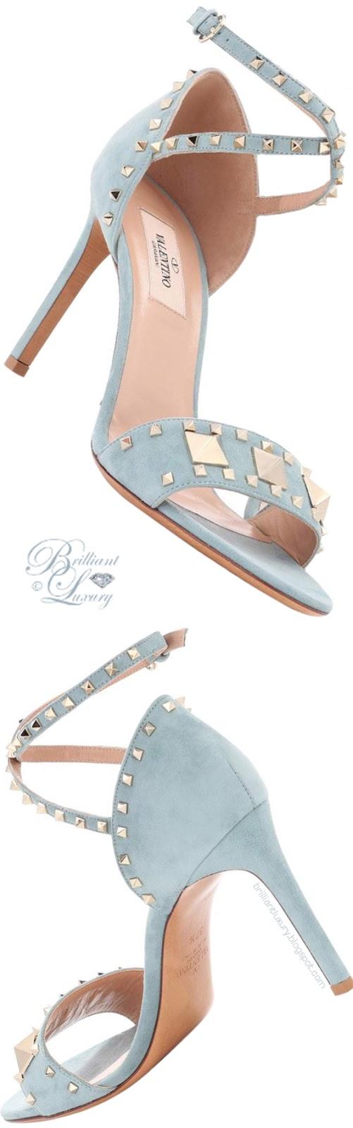 Brilliant Luxury ♦ Valentino Garavani Rockstud blue suede sandals
