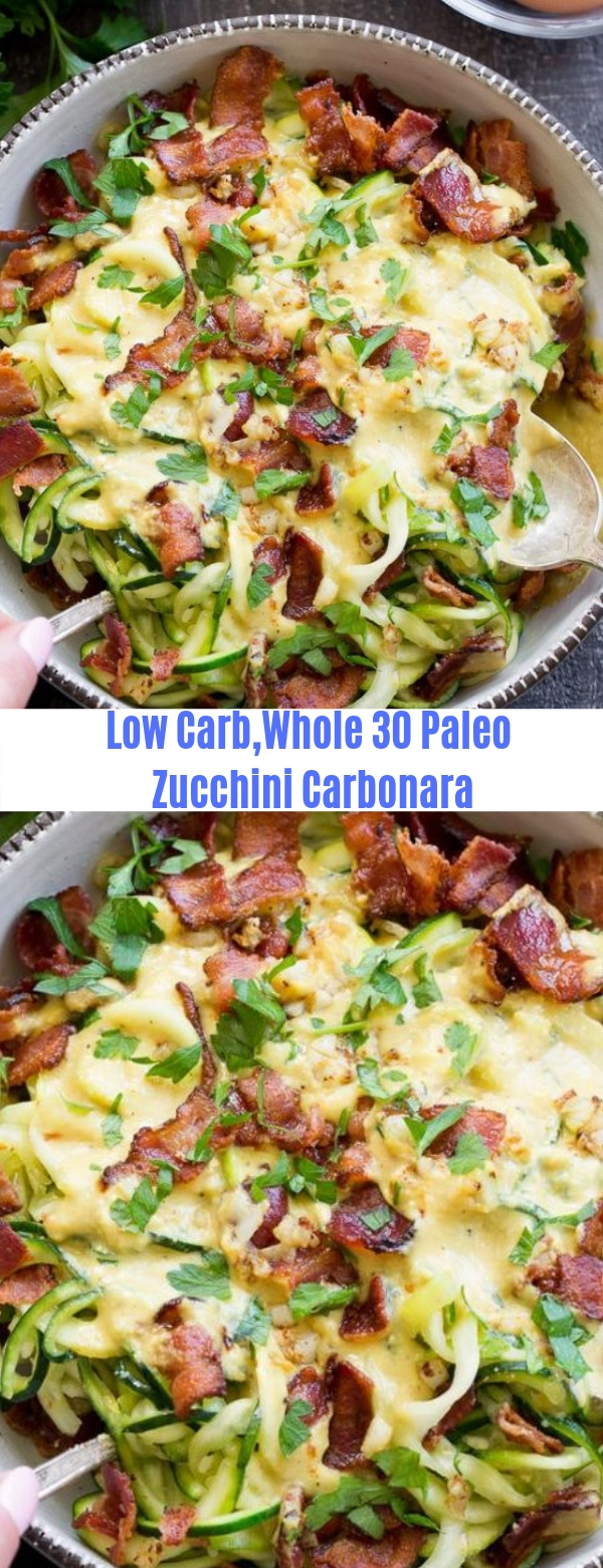 Low Carb,Whole 30 Paleo Zucchini Carbonara