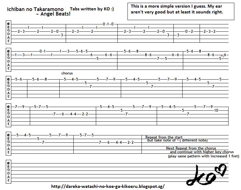 Anime Guitar Tabs Tabs For Ichiban No Takaramono Angel Beats