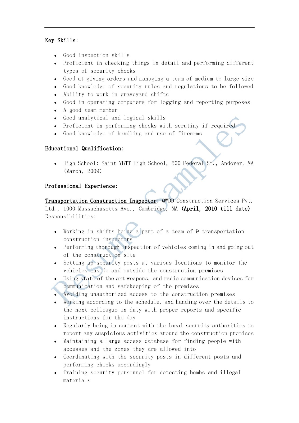 resume samples  transportation construction inspector resume