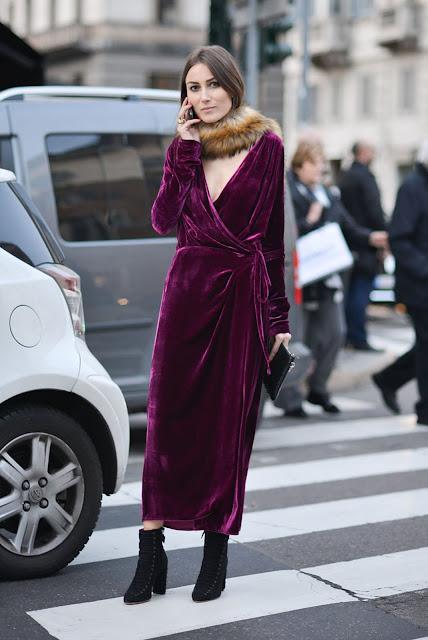 velvet dress during day