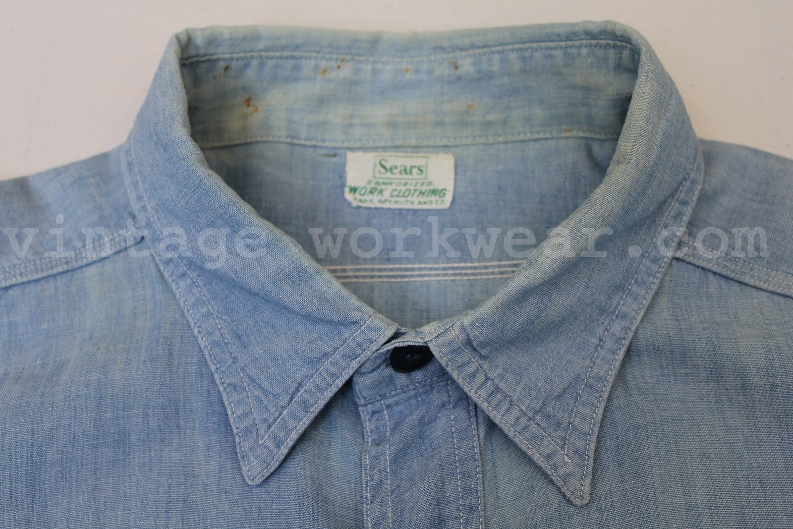 a87b8fa0348 1950 s era Sears WORK CLOTHING Hercules style sanforized s s chambray work  shirt