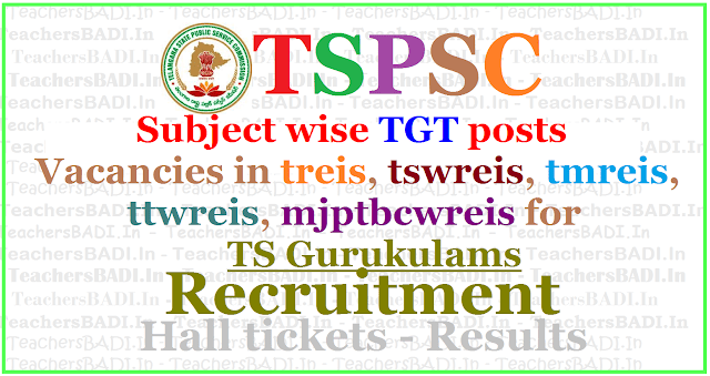 Subject wise TGT posts Vacancies in treis,tswreis,tmreis,ttwreis,mjptbcwreis
