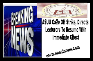 Image for ASUU calls Off Strike