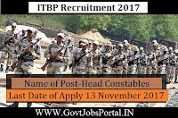 Indo Tibetian Border Police Force Recruitment 2017– 62 Head Constables
