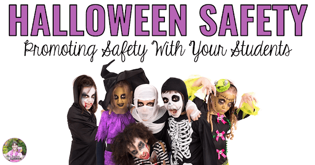 "Image of kids in Halloween costumes with text, ""Promoting Halloween Safety With Your Students."""