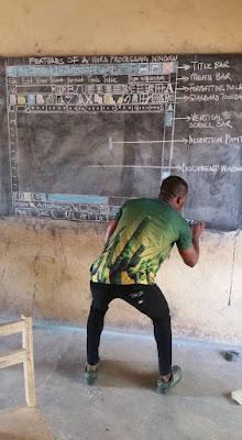 Teacher Draws Microsoft Word Screen On Blackboard Due To Lack Of Facilities