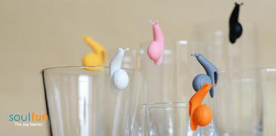 Marcador de vasos para fiestas en forma de caracol.