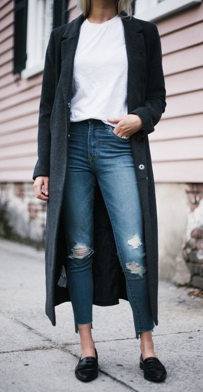 ootd | long coat + white tee + rips + loafers