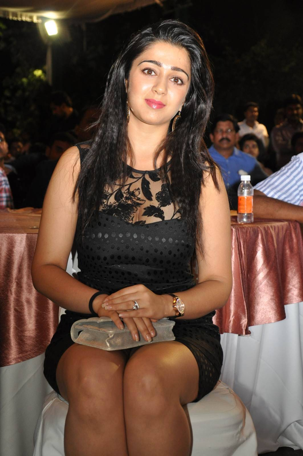Charmi Photos, Charmee Kaur Pics Clicked in Black Dress at Event