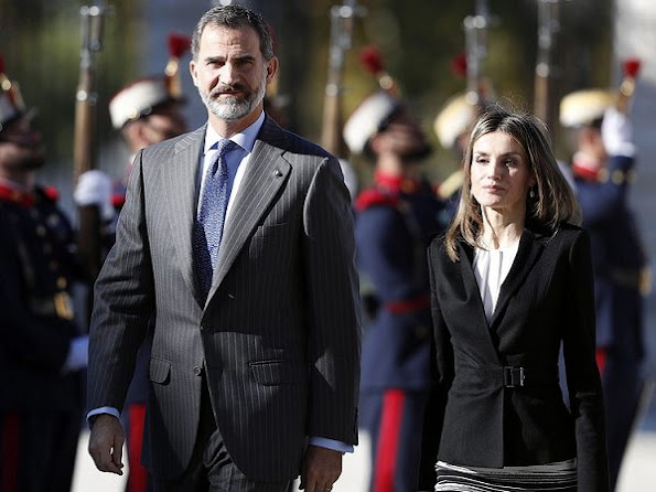 Queen Letizia wore HUGO BOSS Jesila Blazer, HUGO BOSS Vapina Skirt, MAGRIT Pumps